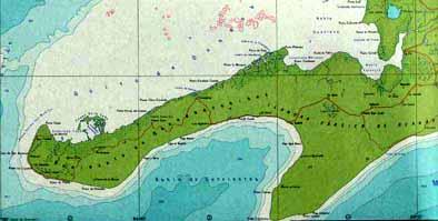 La Península de Guanahacabibes en el mapa físico general de Cuba