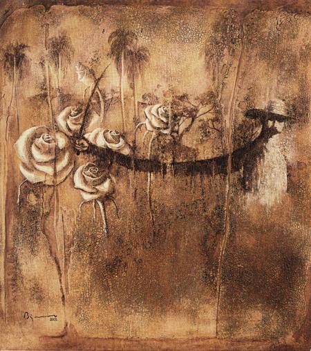 Imágenes en el tiempo XI, 2001 Agustín Bejerano Técnica mixta sobre tela 93 x 85 cm Colección del artista