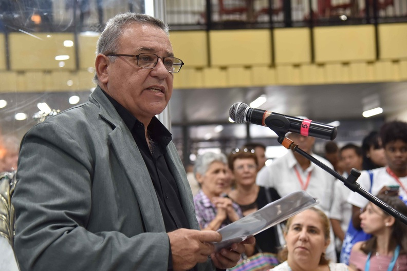 Arturo Valdés Curbeira, director general del Fondo Cubano de Bienes Culturales (FCBC), interviene en la ceremonia de inauguración de la XXIII Feria Internacional de Artesanía FIART 2019, que tiene por sede el recinto ferial Pabexpo, el 6 de diciembre de 2019. ACN FOTO/Omara GARCÍA MEDEROS/ogm