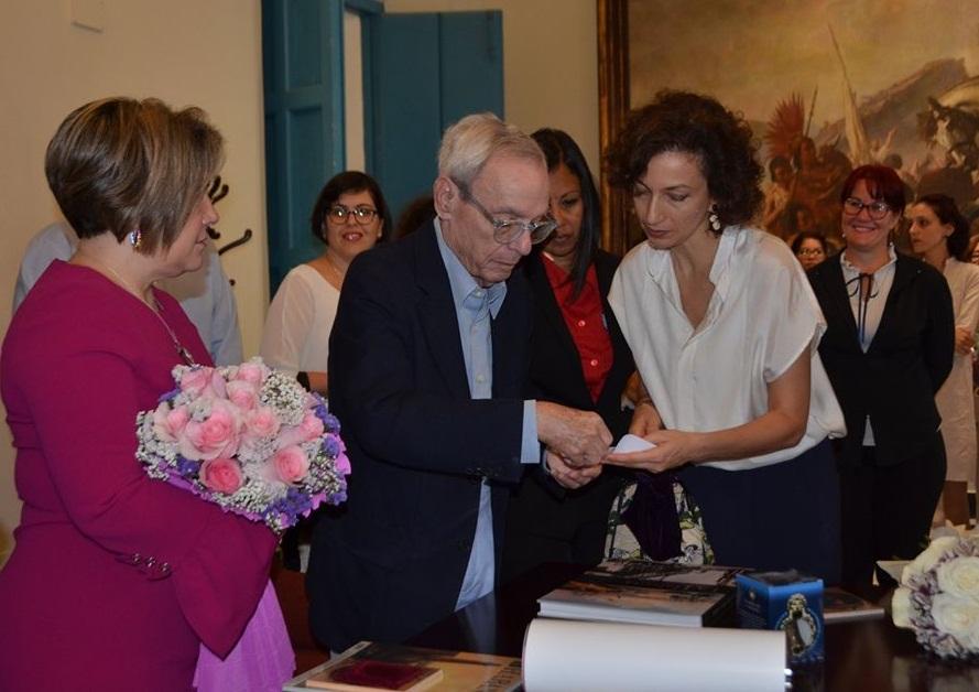 La máxima representante de la UNESCO, Audrey Azoulay, fue recibida este 5 de diciembre por el Historiador de la Ciudad de La Habana, Doctor Eusebio Leal Spengler