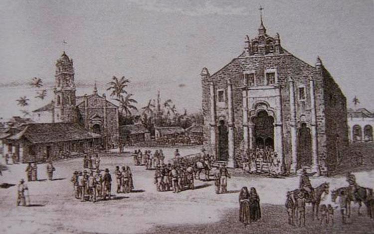 Grabado de la villa de San Juan de los Remedios en el siglo XIX realizado por el artista Federico Mialhe.