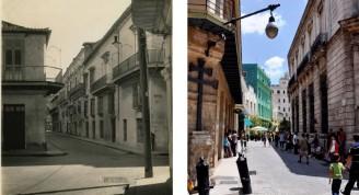 Calle Mercaderes desde Empedrado y desde Amargura, hacia la Plaza Vieja
