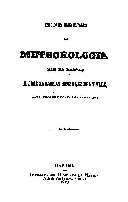 Lecciones de Meteorología G DEL VALLE 1849