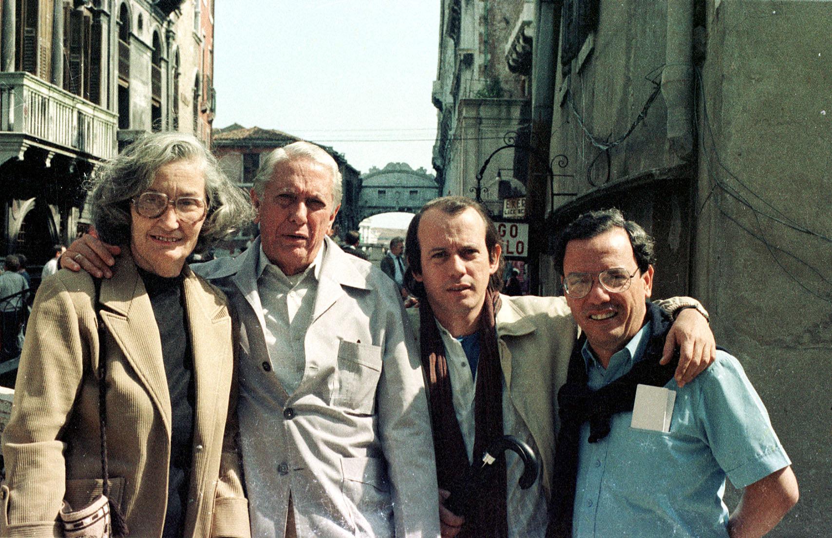 Silvio Rodríguez, Cintio Vitier, Fina García, Eusebio Leal en Venecia