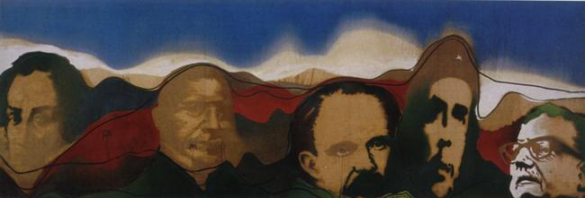 Del Río Bravo a la Patagonia, 1973 Gilberto Frómeta Del Río Bravo a la Patagonia, 1973 Técnica mixta sobre tela 87 x 251 cm