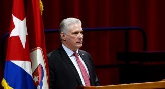 Miguel Díaz Canel Bermúdez, Presidente de la República y Primer Secretario del Partido Comunista de Cuba (CCPCC),  durante su intervención en el cierre del 8vo Congreso del Partido Comunista de Cuba (PCC), efectuado en el Palacio de Convenciones, en La Habana, el 19 de abril de 2021. ACN/FOTO/Ariel LEY ROYERO.