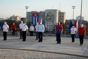 Homenaje a José Martí inicia celebración de trabajadores en Cuba. Foto: Prensa Latina.