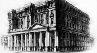 El edificio en 1907 y 1919
