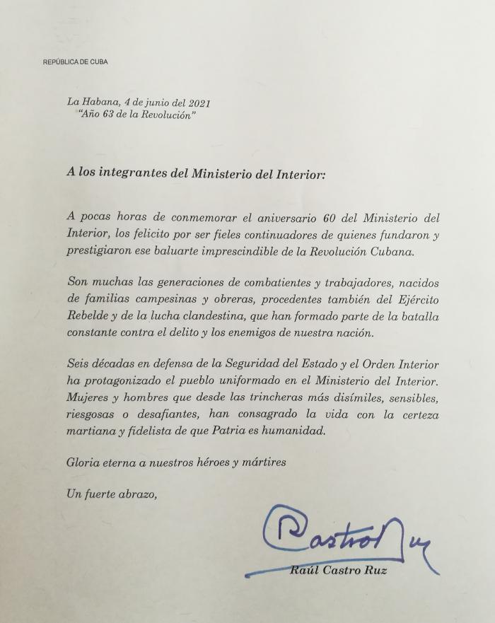 Carta de felicitación de Raúl por el 60 aniversario del MININT Foto: Sitio web del MININT