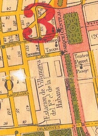 Fragmento del Plano de La Habana, de 1900, de Esteban Pichardo. Se aprecia la manzana No. 14, atravesada por el pasaje, cercano al Payret