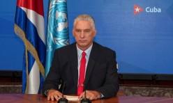 Presidente cubano habla en la ONU vía online. Foto: Alejandro Azcuy Domínguez.